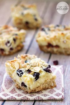 These White Chocolate Cranberry Cheesecake Bars are the epitome of a delicious sweet treat recipe that everyone at the summer potluck will enjoy. It's creamy, tart, and topped with almond, what's not to love?