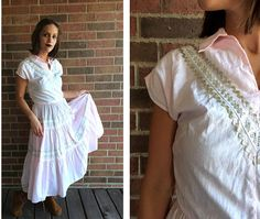 vtg 50s pastel pink PATIO Full Skirt DRESS Medium/Large silver