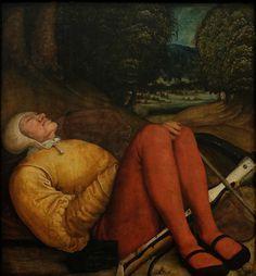 Bernhard Strigel - Sleeping Grave Guardian with Crossbow. 1520