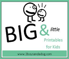 21 Big and Little Worksheets #freeprintables #3boysandadog