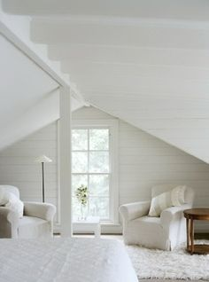 white attic bedroom - maybe a little color?  Like the layout.