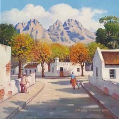 Pniel is a small rural town near the farm Boschendal, between Stellenbosch and Franschhoek. I used one of my own photos showing the side of Simonsberg Mountain in the background. Flower Painting Canvas, City Painting, Painting & Drawing, Oil Paintings, Landscape Paintings, Landscapes, Farmhouse Paintings, South African Art, City Art