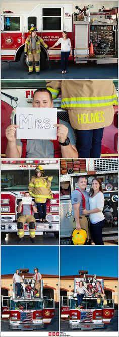 "firefighter engagement photos - absolutely LOVE this. Cody said ""maybe"" to this idea - which in my book, is a YES. lol"