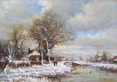 Louis Apol - Winterlandschap met bevroren vaart