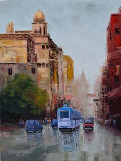 Paintings by artist Purnendu Mandal.  His Paintings elaborates urban life in Kolkata and others Cities on a rainy day by showing people carrying umbrellas, less traffic and limited activities on road. The work also depicts visual effects of monsoon like rain drops, fog, wet climate, reflections in water and shades of dampness.