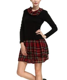 Take a look at the Black & Red Plaid Cowl Neck Dress on #zulily today!