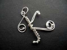 K letter PENDANT  alphabet of SILVER wire by NurrgulaJewellery, $42.00