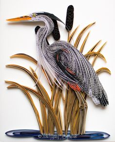 Quilled Great Blue Heron with Golden Cattails