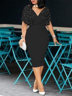 0b1f3e85ef7 Black Pearl Studded Cap-Sleeve Bodycon Dress