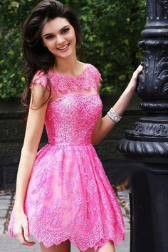 Sherri Hill - Kendall & Kylie 2957 - Pink lace dress Just not the colour wow it's sooo bright Kendall Jenner, Kylie Jenner Modeling, Kyle Jenner, Pink Dress, Lace Dress, Dress Up, Barbie Dress, Sherri Hill Prom Dresses, Homecoming Dresses