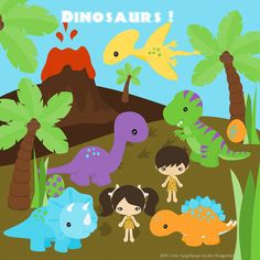 Dinosaur Friends Digital Clipart clip art by Dragonflytwist, $6.00