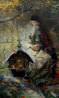 """""""Prayer"""" by Pavel Ryzhenko Russian Painting, Russian Art, Catholic Art, Religious Art, Religion, Jesus Painting, Russian Orthodox, Orthodox Icons, Art For Art Sake"""