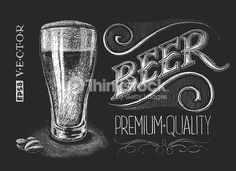 Vector illustration of chalk beer glass on blackboard.