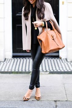 With Love From Kat - camel cape, Ralph Lauren faux leather leggings, a Meli Melo Thela bag, and leopard pumps