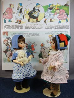 Designed from the cartoon characters for Infant Becassine and her friends - This pattern can be used with variations to make a number of outfits.Pattern includes dress, apron, hat and boots. Shown here on the Loulotte French body - heads made by