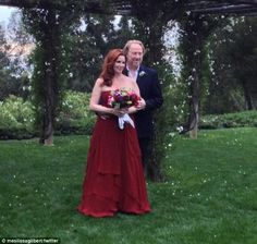 And the bride wore red! Little House On The Prairie star Melissa Gilbert slips into a scarlet gown to wed Timothy Busfield in Santa Barbara on April 24, 2013.