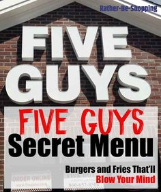 If the Five Guys regular menu has you kinda bored, consider ordering something from the Five Guys secret menu for a delicious new burger concoction. Guys Burgers Recipe, 5 Guys Burgers, Burger And Fries, Burger Recipes, Gourmet Burgers, Five Guys Secret Menu, Fast Food Secret Menus, Secret Menu Items, Menu Restaurant