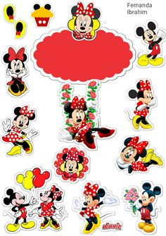 Mickey E Minie, Mickey Mouse Cake, Mickey Mouse Christmas, Minnie Mouse Party, Felt Christmas, Happy Birthday Printable, Mickey Mouse Pictures, Minnie Mouse First Birthday, Diy Cake Topper