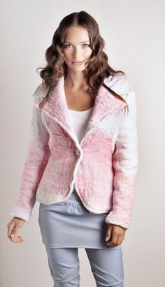 Girly and fashion trend color for fall 2012, Tuxedo blazer Nuno felted Jacket fitted in merino
