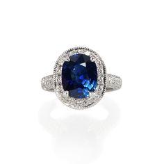 Custom Made Eliza Sapphire And Diamond Halo Engagement Ring. #rings #engagement #halosetting
