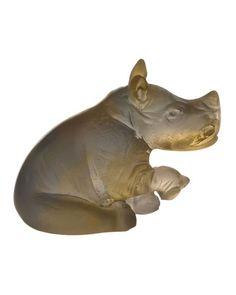 Daum  Mini Amber/Gray Rhino Sculpture