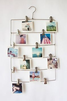 Use a vintage pants hanger to feature a rotating cast of postcards.