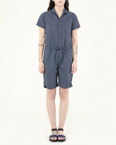 Engineered Garments FWK Combi Suit in Navy Printed Polka Dot   #MohawkGeneralStore #EngineeredGarmentsFWK