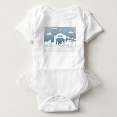 Nativity Christmas Scene Paper Art Style Baby Bodysuit - paper gifts presents gift idea customize