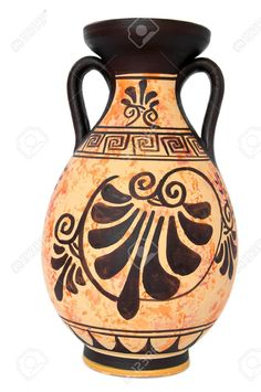 Ancient Greek Orange Vase Isolated Over White Stock Photo, Picture And Royalty Free Image. Ceramic Flower Pots, Ceramic Vase, Ancient Egyptian Art, Ancient Greek, Greek Crafts, Art Shed, Pottery Pots, African Art Paintings, Pottery Painting Designs