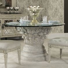 American Drew Jessica McClintock Boutique Round Glass Dining Table - 217-702R from BEYOND Stores