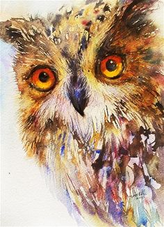 "Daily Paintworks - ""Owl Alert"" - Original Fine Art for Sale - © Arti Chauhan Media: watercolor on Langton cold pressed  Size: 12x10 in"
