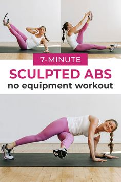 Burn out your core with this intense ab workout you can do at home with no equipment. It's 7 of the best ab exercises for women, targeting the entire core; including the lower abs! 7 Minute Ab Workout, 7 Minute Abs, Intense Ab Workout, Best Ab Workout, Abs Workout Routines, Abs Workout For Women, Workout Abs, Workout Challange, Effective Ab Workouts