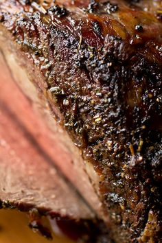 Herb Crusted, Garlic-Stuffed Prime Rib Roast with Creamy Dijon-Horseradish Sauce & Au Jus. Made for Christmas Dinner 2015 Rib Recipes, Cooking Recipes, Prime Rib Roast, Prime Rib Rub, Good Food, Yummy Food, Think Food, Beef Dishes, Horseradish Sauce
