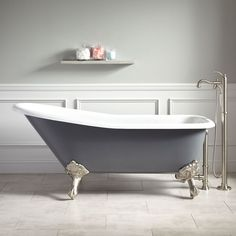 Image result for black and white bathroom with clawfoot tub