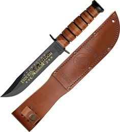 "Product Details: overall. 6 black epoxy powder coated 1095 carbon steel blade with blood groove. Blade features gold color commemorative etch of ""Oper Brown Leather Belt, Leather Handle, Collector Knives, Military Knives, Fixed Blade Knife, Knives And Tools, Usmc, Afghanistan, Fathers Day Gifts"