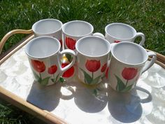 Vintage Ceramic Mugs / Cups  White with Bright by eclecticnesting, $23.00