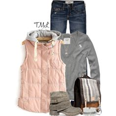 Love a comfy vest~ Dusty pink & grey Fall Outfits, Casual Outfits, Cute Outfits, Fasion, Fashion Outfits, Fashion Ideas, Complete Outfits, Autumn Winter Fashion, Fall Fashion