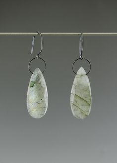 Labradorite Drop Earrings by Catherine Grisez: Silver and Stone Earrings available at www.artfulhome.com