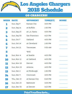 printable 2018 los angeles chargers football schedule printable nfl schedule team schedule chargers football - Nfl Schedule Christmas Day