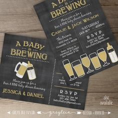 Baby is Brewing BaByQ Baby Shower Invitation / guy by greylein