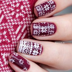 Fairisle christmas sweater nails   nail design for Christmas