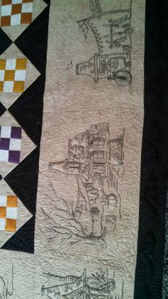Custom Quilts of Joy Longarm Quilting, Free Motion Quilting, Machine Quilting, Machine Embroidery, Halloween Embroidery, Halloween Quilts, Halloween Fun, Witch Quilt, Embroidery Patterns