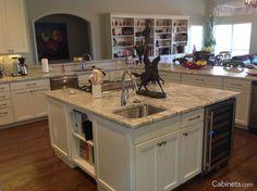Kitchen Island Close Up close up photo of shaker ii maple creek stone base cabinets used