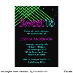 Neon Lights Sweet 16 Birthday Party Invitation | Zazzle.com
