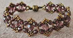 "CRYSTAL PICOT BRACELET 11/0 seed beads Miyuki ""Dark Bronze"" (11-457D) 4mm fire polished beads ""Amethyst"" 6mm fire polished beads ""Ame..."