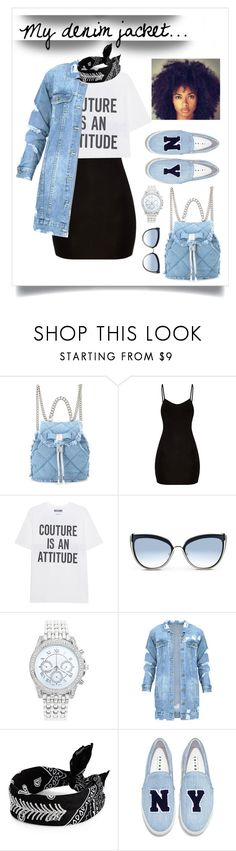 """#My denim jacket"" by liligwada ❤ liked on Polyvore featuring Salvatore Ferragamo, Moschino, Karl Lagerfeld, Lane Bryant, Fallon and Joshua's"