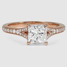 14K Rose Gold Duet Diamond Ring // Set with a 1.01 Carat, Princess, Ideal Cut, E Color, VVS2 Clarity Diamond #BrilliantEarth