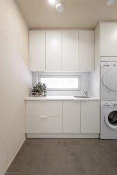 kodinhoitohuone Stacked Washer Dryer, Laundry Room, Home Appliances, Koti, Bathroom Ideas, Space, Garden, Design, New Houses