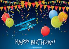 Funny and colorful Happy Birthday card with balloons, plane, ribbons, pennants and paper. High quality JPG included. Under Creative Commons 4.0.