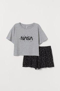 Pyjama top and shorts - Grey marl/NASA - Cute Pajama Sets, Cute Pjs, Cute Pajamas, Pajama Top, Pajama Shorts, Comfy Pajamas, Pajamas For Girls, Yoga Shorts, Girls Fashion Clothes
